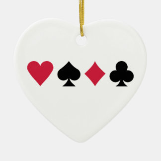 Poker cards ceramic heart decoration
