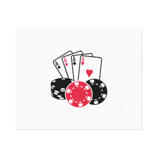 Poker cards chips stretched canvas prints
