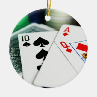 Poker Cards Round Ceramic Decoration