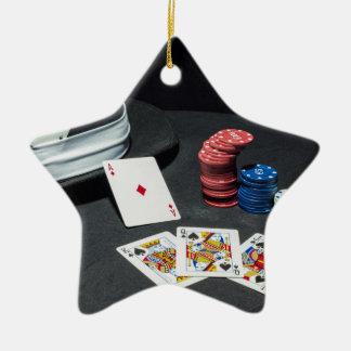 Poker cards gangster hat ceramic star decoration