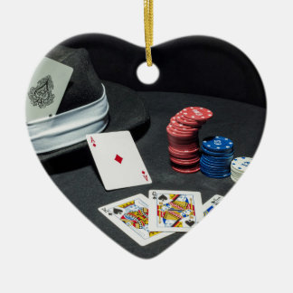 Poker cards gangster hat christmas ornament
