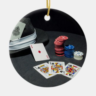 Poker cards gangster hat christmas ornament