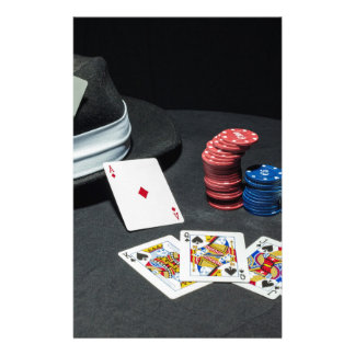 Poker cards gangster hat personalized stationery