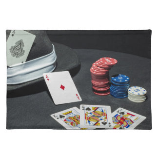 Poker cards gangster hat placemats