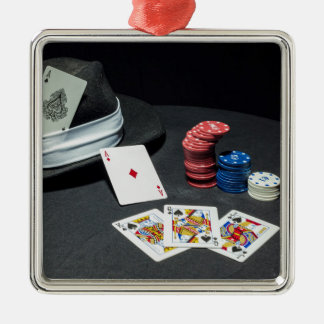 Poker cards gangster hat Silver-Colored square decoration
