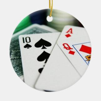 Poker Cards Round Ceramic Decoration