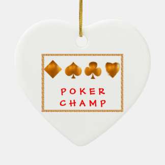POKER Champion : Giveaway Gifts Double-Sided Heart Ceramic Christmas Ornament