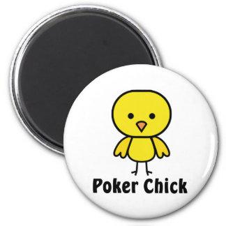 Poker Chick 6 Cm Round Magnet