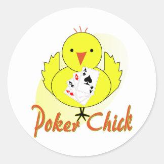 Poker Chick Round Sticker