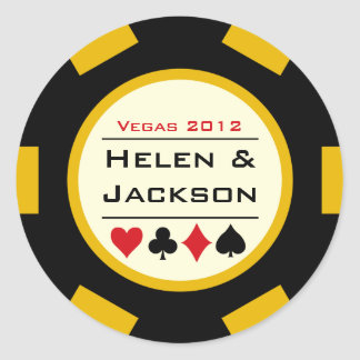 Poker Chip Black and Yellow Round Sticker
