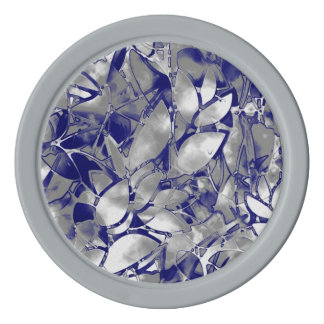 Poker Chip Grunge Art Silver Floral Abstract