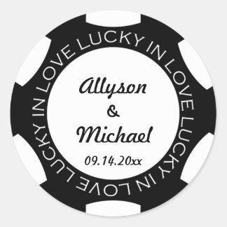 Poker chip lucky in love wedding favor label black round sticker