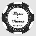 Poker chip lucky in love wedding favour label blac sticker