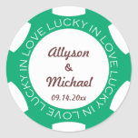Poker chip lucky in love wedding favour label gree round sticker