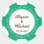Poker chip lucky in love wedding favour label gree round sticker