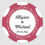 Poker chip lucky in love wedding favour label red round sticker