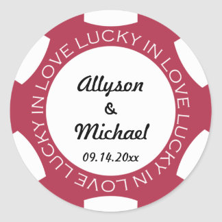 Poker chip lucky in love wedding favour label red round stickers