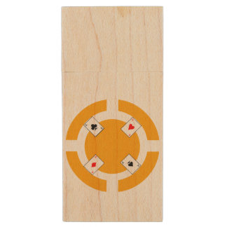 Poker Chip - Orange Wood USB 3.0 Flash Drive
