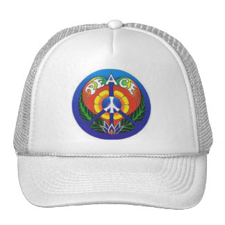poker chip style peace sign on white truckers hat