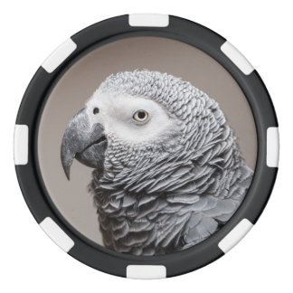 Poker chip with Congo African Grey Gray Parrot