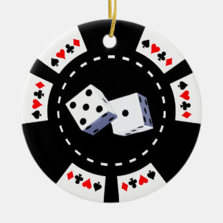 POKER CHIP WITH DICE ORNAMENT