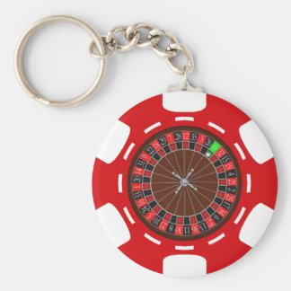 POKER CHIP WITH ROULETTE WHEEL BASIC ROUND BUTTON KEY RING