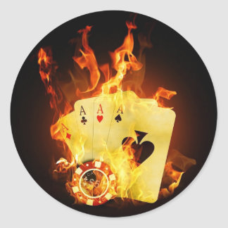 Poker Chips Cards on Fire Round Sticker