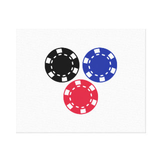 Poker chips gambling stretched canvas print