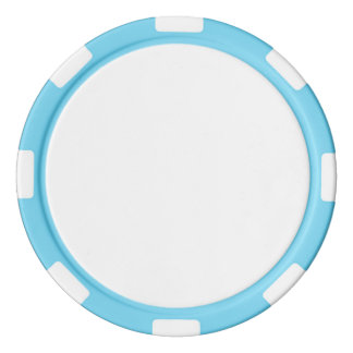 Poker Chips w/ Baby Blue Striped Edge