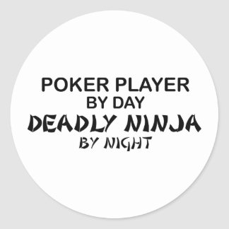 Poker Deadly Ninja by Night Round Sticker