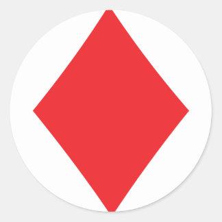 Poker Diamond Card Playing Suit Round Sticker