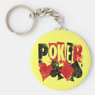 POKER - DISTRESSED AND AGED STYLE BASIC ROUND BUTTON KEY RING