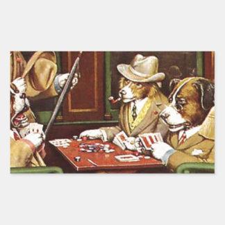 poker dogs.jpeg rectangular sticker