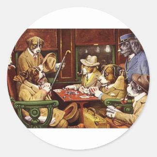 poker dogs.jpeg round sticker