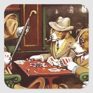 poker dogs.jpeg square sticker