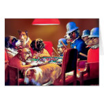 Poker Dogs: Pinched with Four Aces Greeting Card