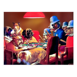 Poker Dogs: Pinched with Four Aces Postcard