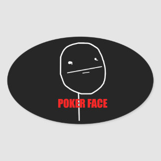 Poker Face - Black Oval Stickers