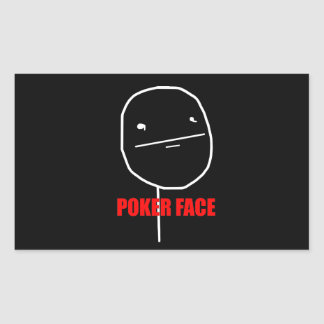 Poker Face - Black Rectangle Stickers