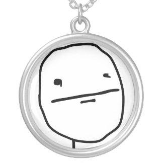 Poker Face Comic Face Round Pendant Necklace