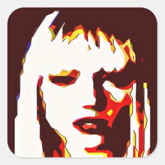 Poker Face Modern Art Square Stickers