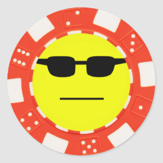 poker face round sticker