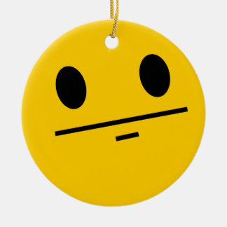 Poker Face Smiley face Round Ceramic Decoration