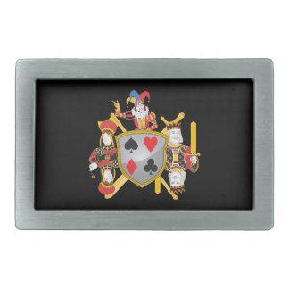 Poker Family Crest Rectangular Belt Buckles