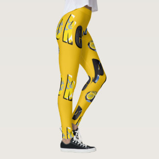 Poker Finals Chips Logo Ladies Yellow Leggings
