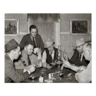Poker Game, 1939. Vintage Photo Poster
