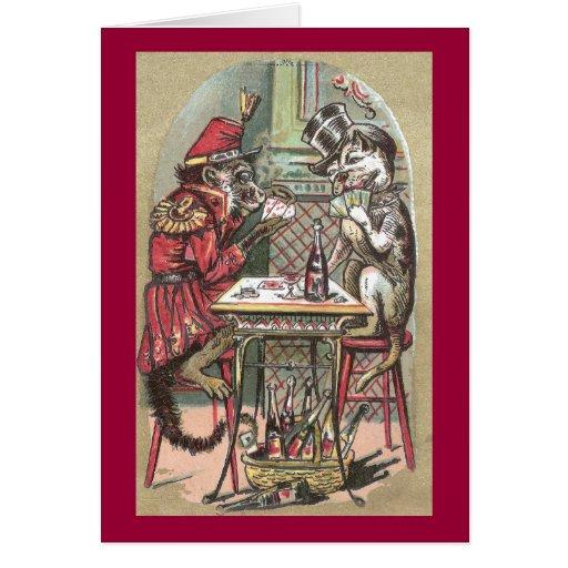 Poker Game Between Monkey & Bulldog Greeting Card