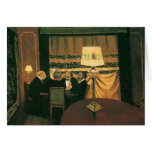 Poker game painting by Vallotton players at table Greeting Cards