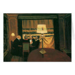 Poker game painting by Vallotton players at table Greeting Card