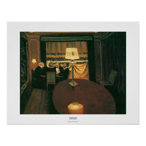Poker game painting by Vallotton players at table Poster